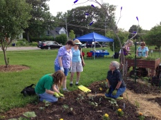 Sarah, Kate, Marge, and Pat working on the squash bed.
