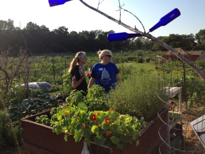 Rita and Carol under the blue bottle tree