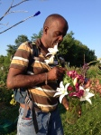 Jojo adding a lovely lily to his bouquet