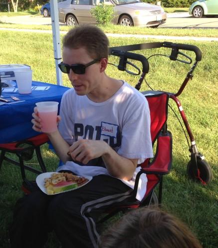 Edward eating some yummy snacks