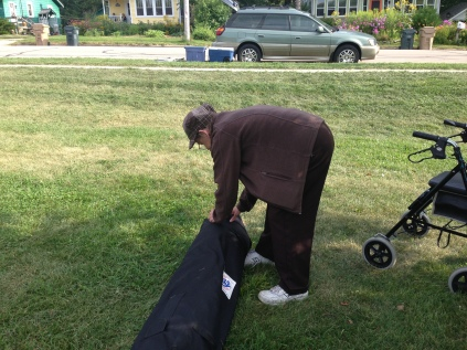 Marge getting the tent set up